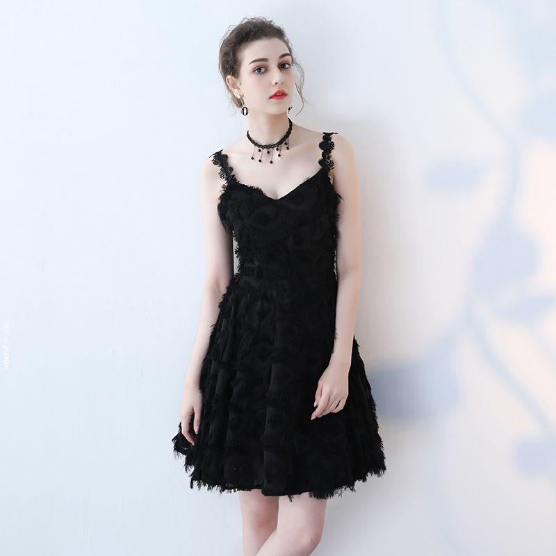 Modern / Fashion Formal Dresses 2017 Party Dresses Black Short A-Line / Princess Tassel V-Neck Sleeveless Backless