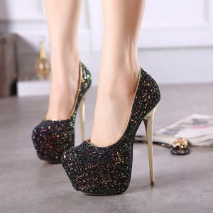 Sparkly Black Stiletto Heels 2017 PU 15 cm / 6 inch High Heels Glitter Sequins Pumps Round Toe Evening Party Womens Shoes