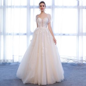 Chic / Beautiful White Wedding Dresses 2018 A-Line / Princess Glitter Tulle Crystal Spaghetti Straps Sleeveless Floor-Length / Long Wedding