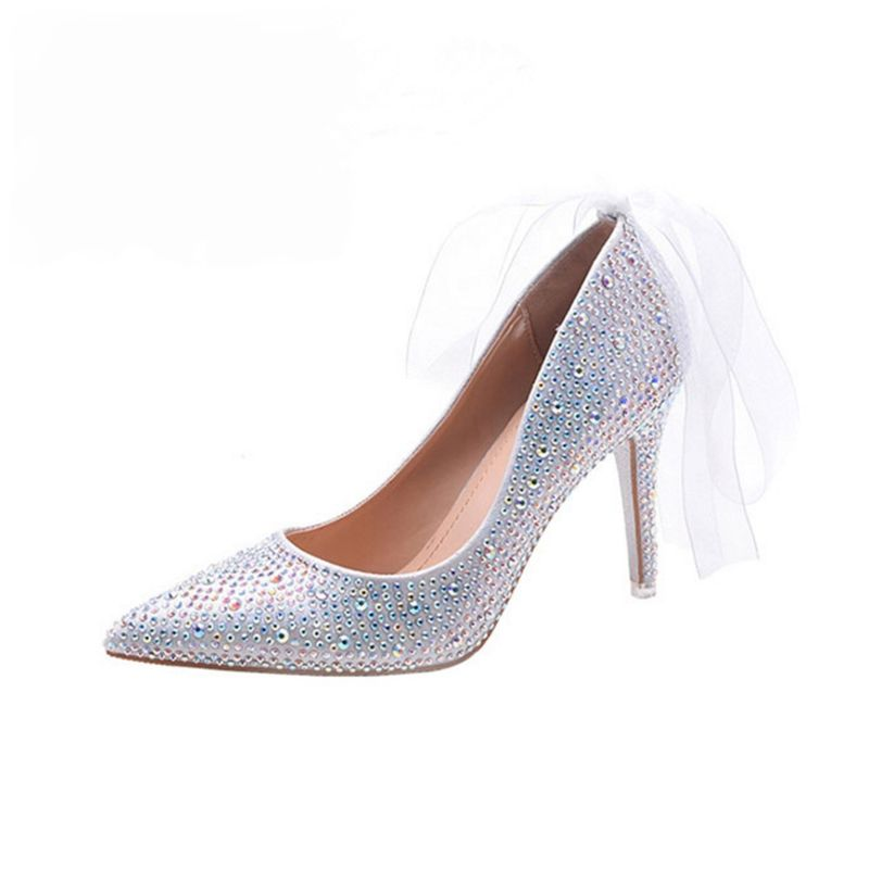 Sparkly Silver Rhinestone Wedding Shoes 2017 Pointed Toe Leather Beading Pumps High Heels 9 cm