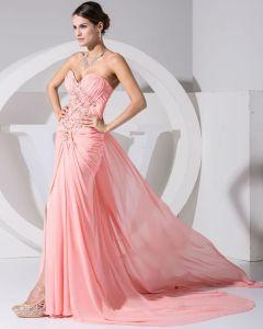 Mode Chiffon Charmeuse Seide Plissiert Liebsten Strass Perlen Hofzug Frauen Abendkleid