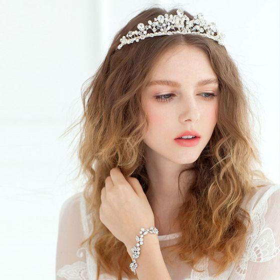 Krystall Krone Perle Tiara Kronprinsesse Bruden Flash Diamant Hand-beaded