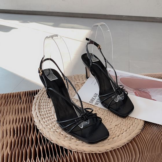 Sexy Schwarz Cocktail Sandalen Damen 2021 7 cm Stilettos Peeptoes Sandaletten Hochhackige
