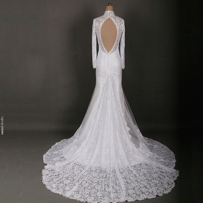 Luxury / Gorgeous Ivory Chapel Train Wedding 2018 Lace-up Long Sleeve See-through Appliques Backless Pierced High Neck Trumpet / Mermaid Wedding Dresses