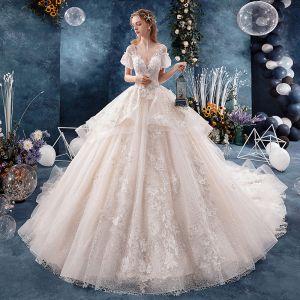 Fabuleux Ivoire Robe De Mariée 2019 Princesse V-Cou Perle Appliques En Dentelle Fleur Manches Courtes Dos Nu Royal Train