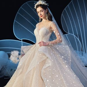 Stunning Champagne See-through Star Wedding Dresses 2019 Ball Gown High Neck Long Sleeve Backless Handmade  Beading Glitter Tulle Cathedral Train Ruffle