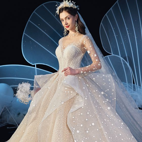 Stunning See-through Ivory Star Wedding Dresses 2019 Ball Gown High Neck Long Sleeve Backless Handmade  Beading Glitter Tulle Cathedral Train Ruffle