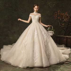 Elegant Champagne Wedding Dresses 2019 A-Line / Princess High Neck Beading Lace Flower Cap Sleeves Backless Cathedral Train