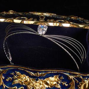 Elegante Silber Haarschmuck Braut  2020 Legierung Zirkon Diadem Hochzeit Brautaccessoires