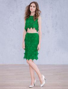 Mode Parteikleider 2016 Grüne Spitze Knielänge Kleid