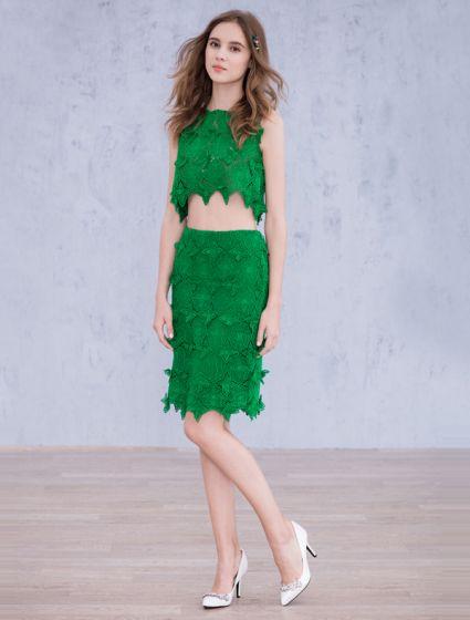 Parteikleider Kleid Spitze Mode Grüne Knielänge 2016 e9WDYE2IH