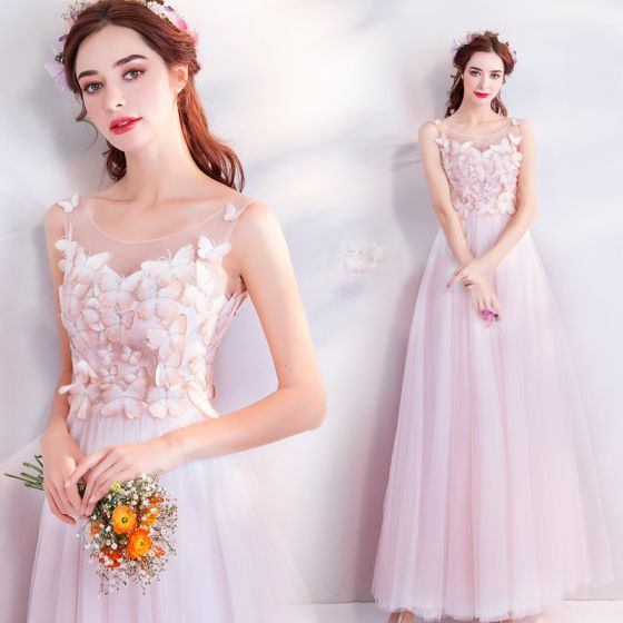 Chic / Beautiful Candy Pink See-through Evening Dresses  2018 A-Line / Princess Scoop Neck Sleeveless Appliques Butterfly Floor-Length / Long Ruffle Formal Dresses