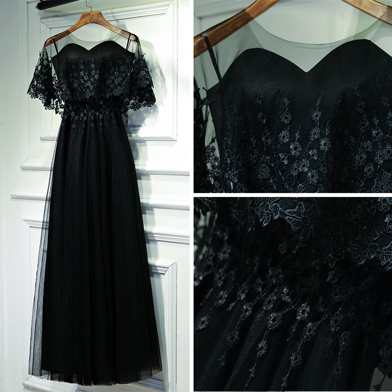 Classic Black Formal Dresses Evening Dresses  2017 Lace Flower Backless Ankle Length Sweetheart Short Sleeve Empire