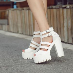 Roman Vintage White Casual Womens Shoes 2018 Leather Buckle Platform 15 cm Thick Heels Open / Peep Toe Sandals