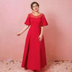 Simple Rouge Grande Taille Robe De Soirée 2018 Princesse Lacer Tulle U-Cou Appliques Dos Nu Soirée Robe De Ceremonie
