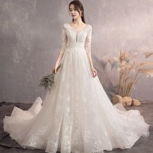 Charming Champagne Wedding Dresses 2019 A-Line / Princess Scoop Neck Star Lace Flower 3/4 Sleeve Backless Court Train