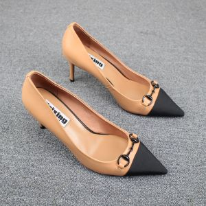 Chic / Beautiful Beige Street Wear Pumps 2019 Leather Metal 8 cm Stiletto Heels Pointed Toe Pumps