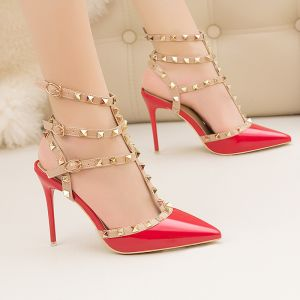 Fashion Red Rivet Evening Party Womens Sandals 2020 T-Strap 10 cm Stiletto Heels Pointed Toe Sandals