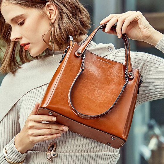Klassisch Braun Quadratische Handtasche Umhängetasche Schultertaschen 2021 Leder Freizeit Damentaschen