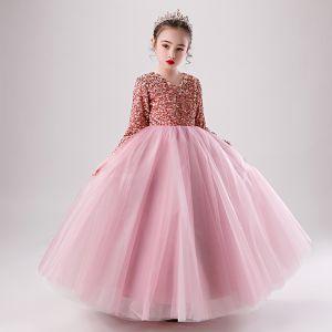 Piękne Cukierki Różowy Zima Urodziny Sukienki Dla Dziewczynek 2020 Suknia Balowa V-Szyja Długie Rękawy Różowe Złoto Cekiny Długie Wzburzyć