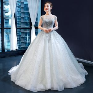 Charming Grey See-through Prom Dresses 2020 Ball Gown Square Neckline Sleeveless Appliques Lace Beading Glitter Tulle Sweep Train Ruffle Backless Formal Dresses