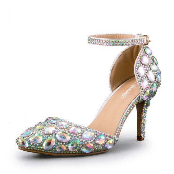 Sexy Multi-Couleurs Faux Diamant Soirée Sandales Femme 2020 Bride Cheville 8 cm Talons Aiguilles À Bout Pointu Sandales