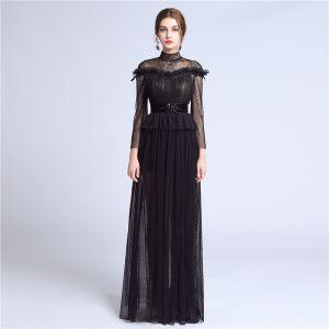 Elegante Schwarz Spitze Abendkleider 2018 A Linie Stehkragen Lange Ärmel Perlenstickerei Stoffgürtel Lange Plissee Festliche Kleider