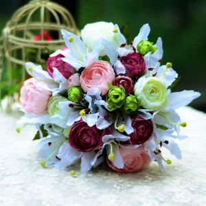 Bouquet De Lys Main Pivoine Mariée Fleurs De Mariage Titulaires