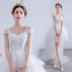 Charming High Low White Asymmetrical Wedding Dresses 2020 A-Line / Princess Square Neckline Beading Pearl Sequins Lace Flower Sleeveless Backless Sweep Train
