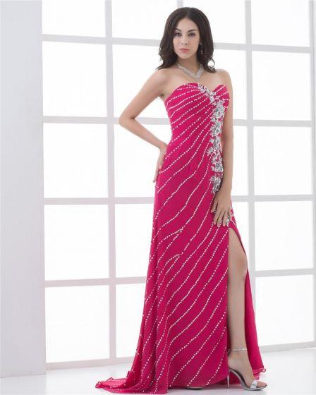 Chiffon Pleated Applique Beading Slit Sweetheart Floor Length Prom Dress