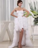 Organza Silk Ruffle Sweetheart Sleeveless Asymmetrical Length Mini Wedding Dress