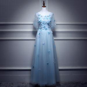Schöne Himmelblau Abendkleider 2017 A Linie Rundhalsausschnitt 1/2 Ärmel Applikationen Schmetterling Lange Rüschen Rückenfreies Festliche Kleider