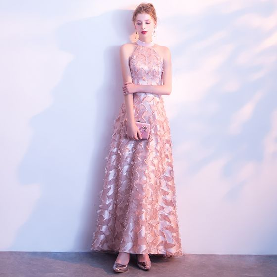 Elegant Candy Pink Evening Dresses  2017 A-Line / Princess High Neck Strapless Sleeveless Floor-Length / Long Formal Dresses