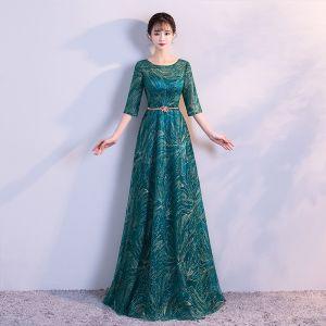 Fine Mørk Grønn Selskapskjoler 2017 Prinsesse Tyll U-Hals Beading Paljetter Glitter Aften Formelle Kjoler