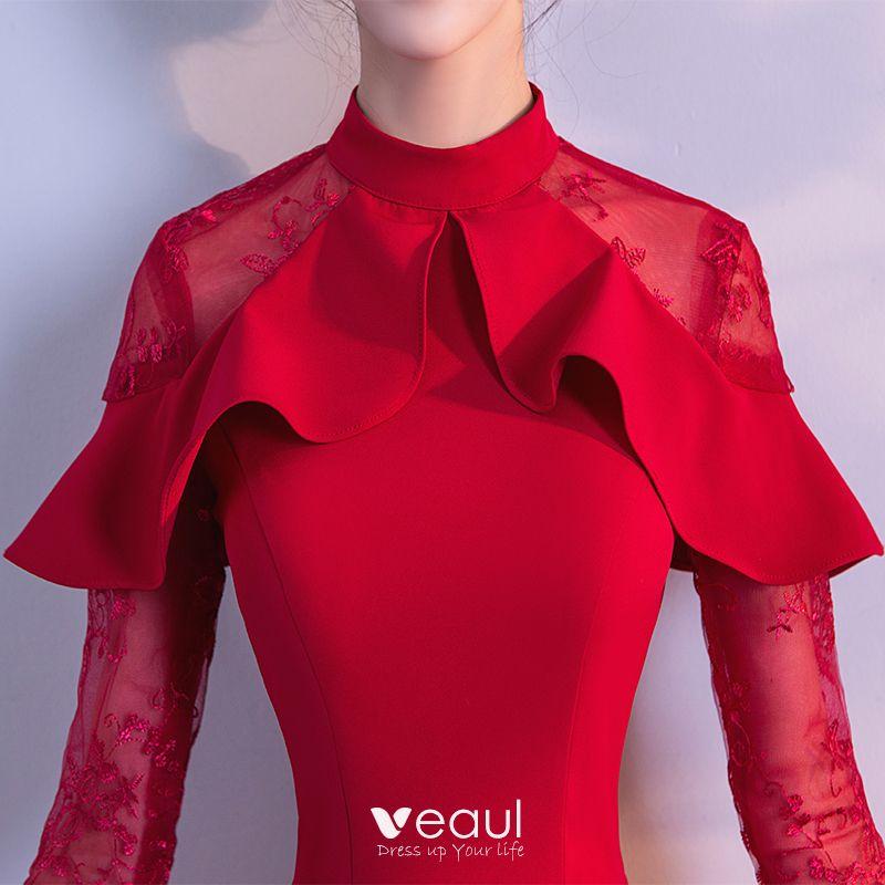 Schöne Rot Abendkleider 2018 Empire Mit Spitze Blumen Stehkragen Lange Ärmel Lange Festliche Kleider