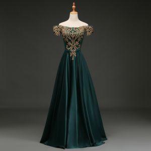Elegant Dark Green Evening Dresses  2019 A-Line / Princess Off-The-Shoulder Rhinestone Sash Short Sleeve Backless Floor-Length / Long Formal Dresses