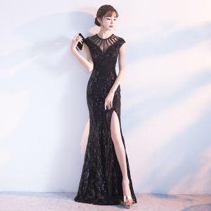 Modern / Fashion Black Evening Dresses  2017 Trumpet / Mermaid Scoop Neck Sleeveless Beading Sequins Split Front Floor-Length / Long Pierced Backless Formal Dresses