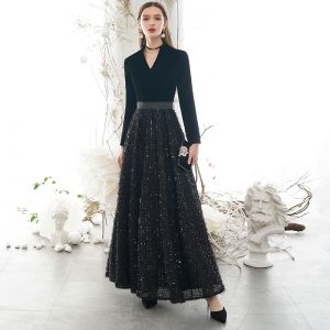 Classy Black Evening Dresses  2020 A-Line / Princess V-Neck Tassel Sequins Long Sleeve Floor-Length / Long Formal Dresses