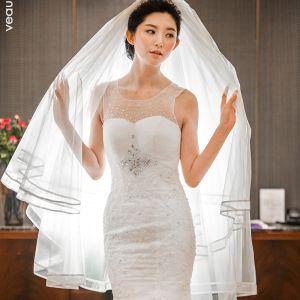 Enkla Vita Korta Brudslöja 2020 Tyll Randig Bröllop Tillbehör
