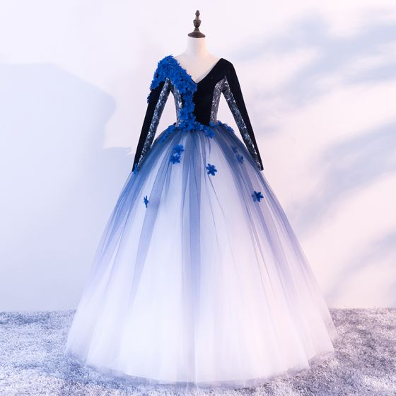 Vintage retro quinceaera black royal blue white prom dresses 2018 vintage retro quinceaera black royal blue white prom dresses 2018 ball gown v neck long sleeve appliques flower mightylinksfo