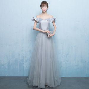 Elegant Grey Prom Dresses 2018 A-Line / Princess Off-The-Shoulder Short Sleeve Beading Sash Floor-Length / Long Ruffle Backless Formal Dresses