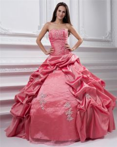 Ball Gown Sleeveless Taffeta Embroidery Ruffles Applique Sweetheart Floor Length Quinceanera Prom Dresses Set 2Pcs