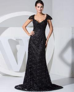 Seide Perlen Mit V Ansatz Sleeveless Reißverschluss Gericht Zug Abendkleid