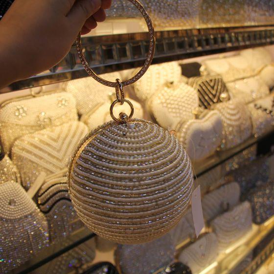 Chic / Beautiful Gold Rhinestone Pearl Round Clutch Bags 2020
