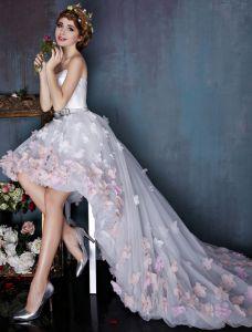 Vacker Elfenben Cocktailklänningar Imperium Asymmetrisk Festklänning Med Färgglada Blommor
