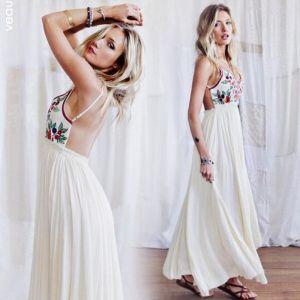 Sexy Zomer Ivoor Strand Maxi-jurken 2018 Spaghettibandjes Mouwloos Lange Ruche Ruglooze Dameskleding