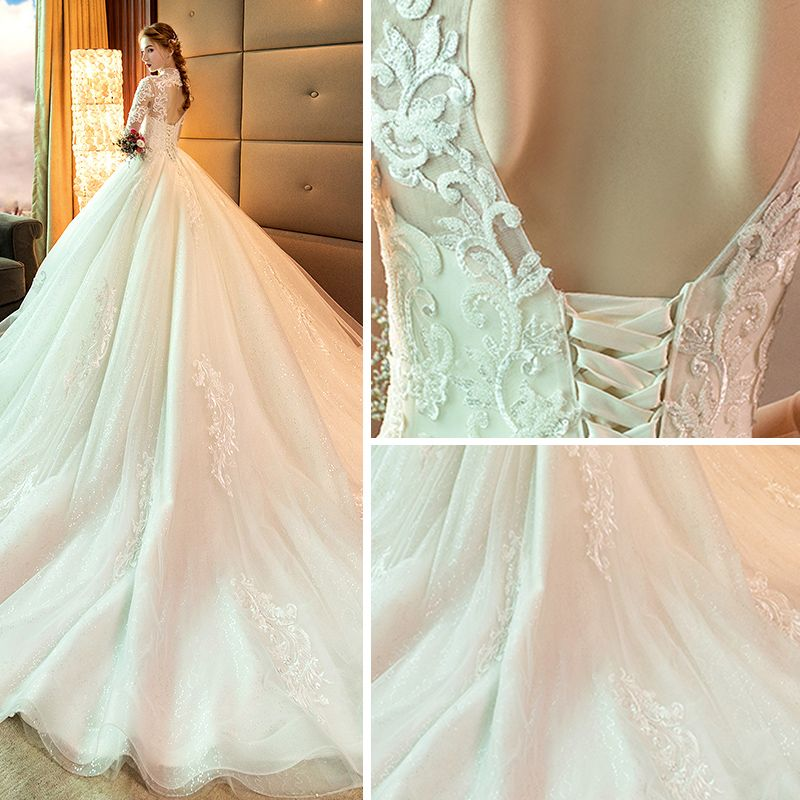 Vintage / Retro Champagne Pierced Wedding Dresses 2019 A-Line / Princess High Neck 3/4 Sleeve Backless Appliques Lace Glitter Tulle Chapel Train Ruffle