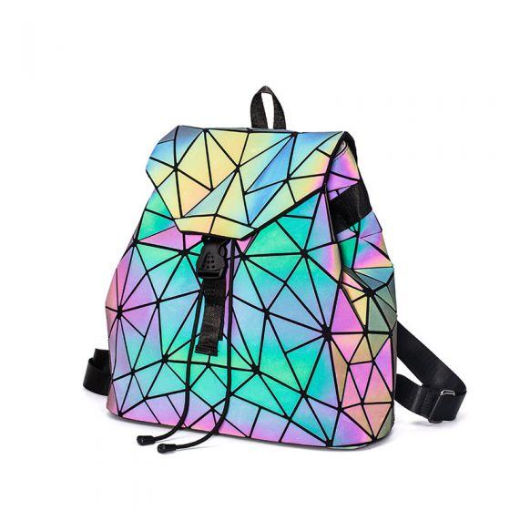 Auffälliges Leuchtend Geometrisch Multifarben Rucksäcke 2021 Holographisch Reflektierend Damentaschen