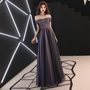 Elegant Grape Evening Dresses  2019 A-Line / Princess Off-The-Shoulder Beading Crystal Sequins Short Sleeve Backless Floor-Length / Long Formal Dresses