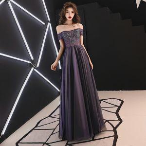 Elegant Grape Evening Dresses  2019 A-Line / Princess Off-The-Shoulder Beading Crystal Sequins Short Sleeve Backless Floor-Length / Long Formal Dresses
